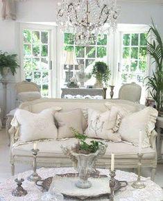 Beautiful White Shabby Chic Living Room Decoration Ideas 52