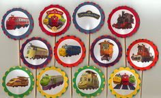 Chuggington Train Birthday Cupcake Toppers Set of 12 by PartyBees, $9.00