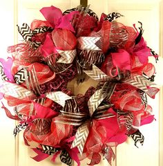 REDUCED**Pink, Black, and Zebra Deco Mesh Wreath**REDUCED by KristinsDecoMesh on Etsy