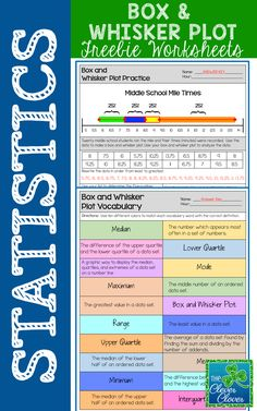 This resource can be used for practice with creating and interpreting box and whisker plots.  Students will use twenty mile times in order to calculate the five number summary.  Space is provided for students to list the numbers in order from least to greatest.  Students are directed to shade and label each quartile of the box and whisker plot.  After the plot has been drawn, students can answer six questions pertaining to the data. A vocabulary worksheet is also included.