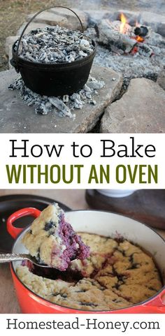 Whether you live off-grid, are camping, or just don't want to bake indoors in the heat of summer, knowing how to bake without an oven is a valuable skill. Learn a few creative ways to bake without an oven, such as Stovetop Bakes and Dutch ovens! | Homeste