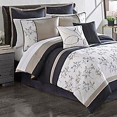image of Sketch Pad Comforter Set in Navy/Heather Grey