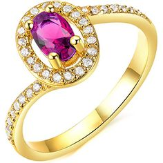 * Penny Deals * - BOHG Jewelry Womens Oval Purple AAA Cubic Zirconia 18K Gold Plated Bridal Set Ring Promise Wedding Bands Size 9 >>> More info could be found at the image url.