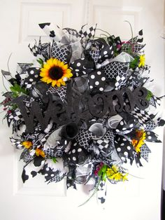 Black and white holstein cow sunflower welcome wreath
