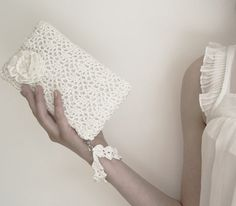 White Queen Rossette Crochet Clutch Bag