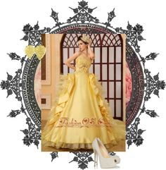 """""""Beading Organza A-Line Strapless Cathedral Train Yellow Wedding Dress"""" by weddingdressesforyou on Polyvore"""