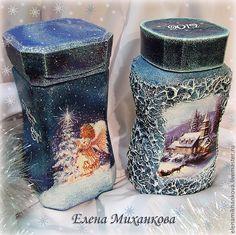 новогодний декупаж Wine Bottle Art, Diy Bottle, Wine Bottle Crafts, Mason Jar Crafts, Decoupage Plates, Decoupage Wood, Coffee Jars, Christmas Decoupage, New Year's Crafts