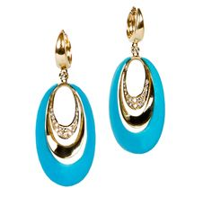 Hand-Made 14kt yellow gold Diamond-Turquoise earrings, containing .36ct total weight pave set diamonds   OKG Jewelry - Little Neck Jewelry Services - Bayside New York Jewelry - Custom Design Jewelers