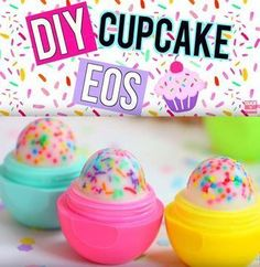 Best DIY EOS Projects - DIY Cupcake EOS Lip Balm! - Turn Old EOS Containers Into Cool Crafts Ideas Like Lip Balm, Galaxy, Gumball Machine, and Watermelon - Fun, Cheap and Easy DIY Projects Tutorials and Videos for Teens, Tweens, Kids and Adults http://diyprojectsforteens.com/diy-eos-projects #easydiyprojectsforteens