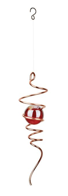 Red Carpet Studios Cyclone Tail Wind Spinner, 11-Inch Long, Copper with Red Marble