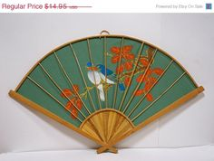 """Vintage Hand Painted on Fabric 27"""" Japanese Decorative Bamboo Fan Birds on Tree"""