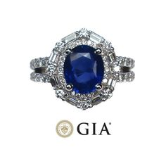 GIA 4.64 ct Blue Sapphire and Diamond Ring #jewelry #weddings