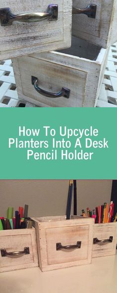 How To Upcycle Planters Into A Desk Pencil Holder #DIYproject #upcycling #sabrinasorganizingDIY #deskorganizingtips #tutorial #homeoffice