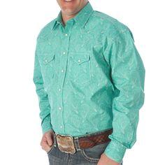 Men's Panhandle Rough Stock Turquoise Paisley Buttondown Shirt