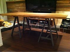 Kitchen table... Ikea hackers DIY.  Can choose own stain color and legs!