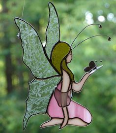 Stained Glass Fairy by theglassmenagerie on Etsy Stained Glass Angel, Stained Glass Suncatchers, Stained Glass Designs, Stained Glass Projects, Stained Glass Patterns, Stained Glass Windows, Mosaic Patterns, L'art Du Vitrail, Glass Painting Designs