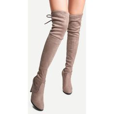 Apricot Suede Point Toe Lace Up Over The Knee Boots ($49) ❤ liked on Polyvore featuring shoes, boots, over-the-knee suede boots, above-knee boots, above the knee boots, pointed toe thigh high boots and thigh boots