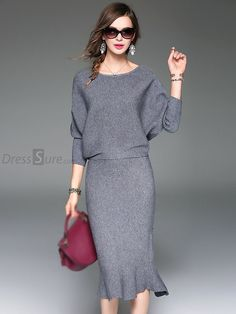 a817ae147b6d Elegant O-Neck Long Sleeve Knitting Two-Piece Mermaid Dress