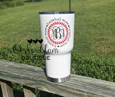 Baseball Mom - Baseball Tumbler - Baseball Monogram - Monogram Waterbottle - Monogram Decal - Rtic Tumbler - White Cup - 30oz Tumbler by OhSewGlamBoutique on Etsy https://www.etsy.com/listing/478186851/baseball-mom-baseball-tumbler-baseball