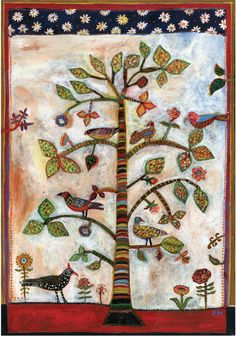 From one of my folk art tree paintings that was inspired by the Shakers. Printed on an archival cotton rag 8 1/2 x 11 paper. Image size is 6.5 x 9