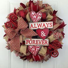Valentine's Deco Mesh Wreath Valentines by RhondasCre8iveCorner