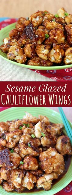 Sesame Glazed Cauliflower Wings - this appetizer recipe is a healthy option for game day tailgating parties, or a yummy vegetable side dish. Gluten free and vegan options. Cauliflower Wings, Cauliflower Recipes, Vegan Recipes Easy, Yummy Recipes, Yummy Food, Healthy Meals, Easy Meals, Appetizer Recipes, Appetizers