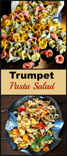 Beautiful trumpet shaped pasta with their ruffled edges were perfect for this late Summer pasta salad recipe. Fresh tomatoes and colorful bell peppers and a unique balsamic vinegar and mayo dressing . this was a big hit at our last BBQ. Not a drop left. Yummy Pasta Recipes, Pasta Salad Recipes, Dinner Recipes, Rice Recipes, Noodle Recipes, Dinner Ideas, Unique Pasta Salad, Summer Pasta Salad, Mayo Dressing