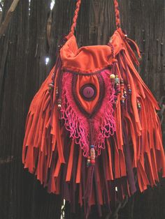 ☯☮ॐ American Hippie Bohemian Style ~ Boho Gypsy Burnt Orange Fringe Bag