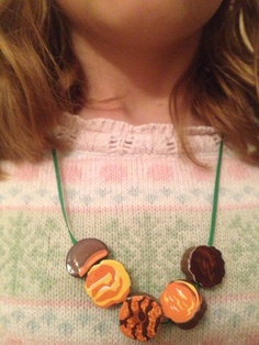 Cute Girl Scout Cookie Bead necklace, found beads @ Michael's