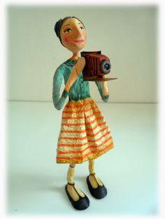 D. Arbus Paper Clay Art, Paper Mache Crafts, Guys And Dolls, Craft Activities, Gourds, Textiles, Paper Cutting, Art Dolls, Folk Art