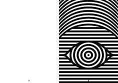 левая страница будет в дырах (обратная сторона обложки) полосы глаза будут частью рисунка на обложке, т.к. будут видны через дыры