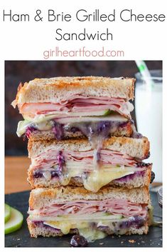 Looking for a gourmet grilled cheese sandwich recipe? This Ham & Brie Grilled Cheese Sandwich is piled high with thinly sliced ham, creamy brie cheese, crispy granny smith apple and sweet blueberry jam for one scrumptious bite. Brie Sandwich, Tea Sandwiches, Gourmet Sandwiches, Chicken Sandwich, Best Sandwich Recipes, Grill Cheese Sandwich Recipes, Lunch Recipes, Cooking Recipes, Breakfast Recipes