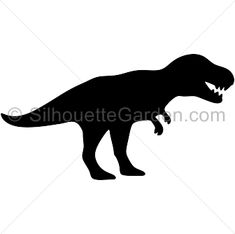 T Rex silhouette clip art. Download free versions of the image in EPS, JPG, PDF, PNG, and SVG formats at http://silhouettegarden.com/download/t-rex-silhouette/