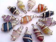 Assorted Agate Stone Alpaca Silver Coils Pendantshttp://www.wholesaleperuvianjewelry.com