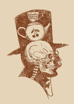 top hat, teapots & cuppas. a skelly's favorite things #badass #anglophile #skull
