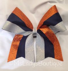 Hey, I found this really awesome Etsy listing at https://www.etsy.com/listing/186756813/glitter-orange-white-navy-cheer-bow