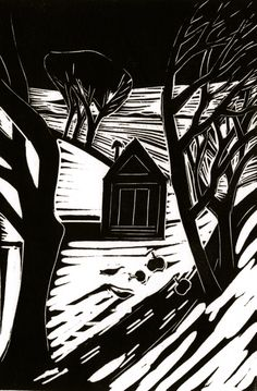 Image result for winter linocut