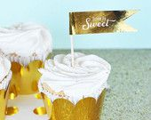 Gold Cupcake Flags - Mint and Gold Wedding Straw Tags - Gold Bridal Shower Decor Gold Foil Stickers Labels (EB2351FW) set of 24 LABELS ONLY