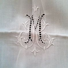 French antique linen sheet  monogrammed MR by BiarritzVintage