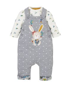Wadded Dungarees and Bodysuit Set