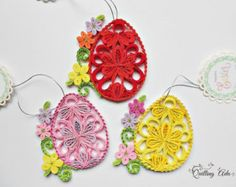Set of 3 Quilled Easter baby chickens 3D Quilling by QuillingLife