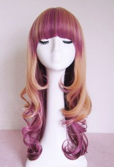 Purple highlighted blonde wig. long curly wig. by Wigglywigs