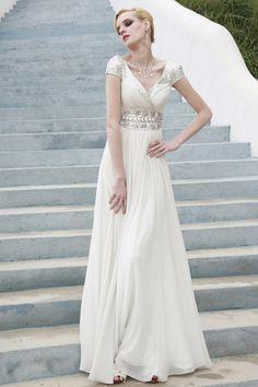White Empire Wedding Dress with Pearl Embellished Belt - $533.50. http://www.youngrepublic.com/women/bridal/white-empire-wedding-dress-with-pearl-embellished-belt.html