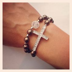 Beaded sideways cross bracelet set on Etsy, $19.95