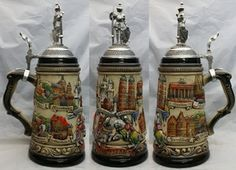 We offer a large selection of German beer steins and mugs. Shop for new German steins and gifts or visit our catalog of old and collectible beer steins. We design and sell custom made German steins. From Mettlach to Thewalt, our steins are in stoc German Beer Steins, Beer Mugs, Craft Beer, Beer 101, Knights, Tableware, Pots, Nostalgia, Crafts