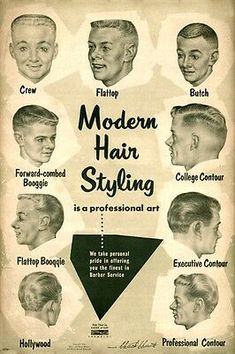 Mens Hairstyles : Art Print : Barber Hair Styles mid-century Hollywood for sale online 1950s Mens Hairstyles, Vintage Hairstyles For Men, Mid Hairstyles, Elegant Hairstyles, Old School Haircuts, Top Haircuts For Men, Short Haircuts, Flat Top Haircut, Low Fade Haircut