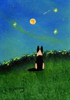 German Shepherd Dog Folk Art PRINT of Todd Young by ToddYoungArt