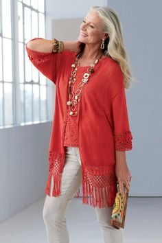 Maggie Macrame Cardigan #chicos One of the things I like about Chico's. They use older models.
