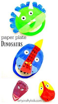 Arty Crafty Kids - Craft - Craft Ideas for Kids - Paper Plate Dinosaur Paper Plate Crafts For Kids, Animal Crafts For Kids, Easy Arts And Crafts, Easy Crafts For Kids, Toddler Crafts, Diy For Kids, Paper Craft, Dinosaur Activities, Dinosaur Crafts