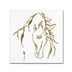 Trademark Fine Art 'Gilded Stallion on White' Canvas Art by Chris Paschke, Brown
